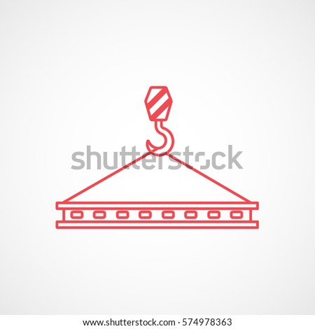 construction crane hook with block red line icon on white background