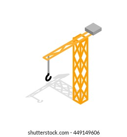 Construction crane icon in isometric 3d style isolated on white background