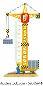 Construction crane meter wall or height chart