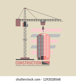Construction crane and residential building on the abstract background. The emblem is made for construction companies and corporations. Vector illustration template design