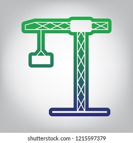 Construction crane sign. Vector. Green to blue gradient contour icon at grayish background with light in center.