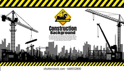 Construction crane silhouette vector.