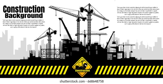 Construction crane silhouette vector.