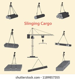 Construction crane for slinging and lifting cargo. Proper use of slinging during the operation of a tower crane at the construction site.