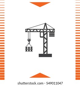 Construction Crane vector icon. Elevator sign. Lifting device symbol