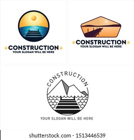 Construction design logo with bridge sea mountain sun circle blue yellow vector suitable for dock skid ship dock repair houseboat