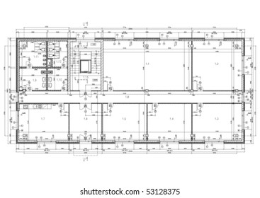 Construction drawing of an office building. Black and white vector illustration.