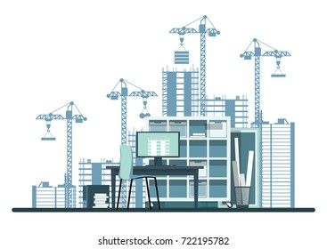 Construction. From drawings to construction. From design to construction. Construction project. Flat style. Flat design. Vector illustration Eps10 file