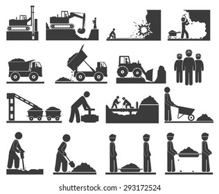 Construction earthworks icons mining and quarrying coal, oil, gold, repair of pipelines