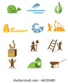 Construction and ecological icons with the different arrows