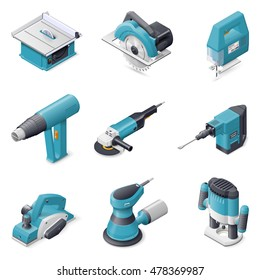 Construction electric tools isometric detailed icon set vector graphic illustration