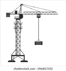 Construction Elements, Crane Vector on White Background, Hard Work, Construction Works, Crane Png Vector, Black colour.