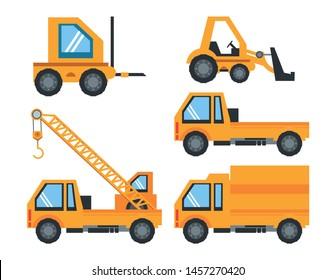 construction engineer heavy trucks set cartoon vector illustration graphic design