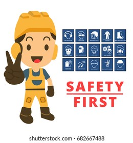 Construction engineer with showing two fingers up happy cheerful.Mandatory signs, safety and health sign