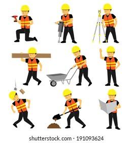 Construction Engineer Worker Builder Set