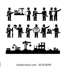 Construction Engineering Industrial Workers Project Manager Vector Icons