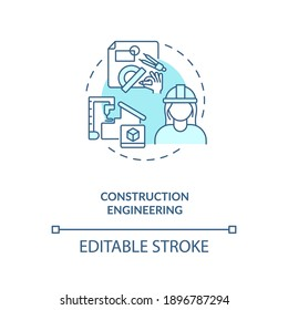 Construction engineering turquoise concept icon. Contractor plan building. Architect design. Civil engineering idea thin line illustration. Vector isolated outline RGB color drawing. Editable stroke