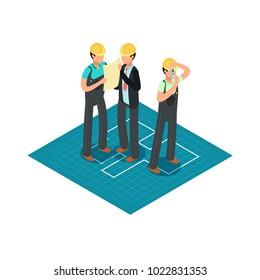 Construction engineers and builders in yellow safety helmets. 3d isometric architect vector concept. Builder in hard helmet, construction isometric illustration