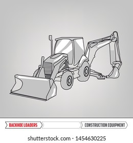 Construction Equipment: Backhoe Loader. Heavy machinery. Line Illustration. Hand Drawn isolated vector.