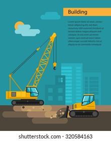 Construction equipment.  Bulldozer, caterpillar crane Vector flat illustration