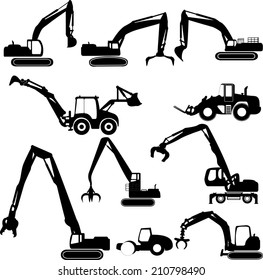 Construction equipment collection white background