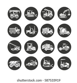 construction equipment icon set in circle button