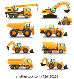 Construction equipment - isolated vector illustrations set on white background.