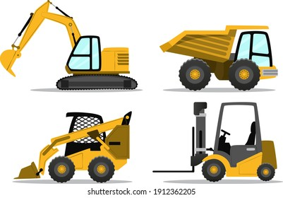 Construction equipment large set. Special machines. Building work. Forklifts cranes excavators, tractors, bulldozers, trucks, cars, concrete mixer, trailer. Construction machinery vector illustration.