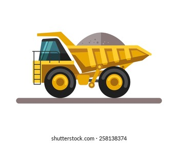 Construction equipment and machinery - truck. Vector illustrations in flat style.
