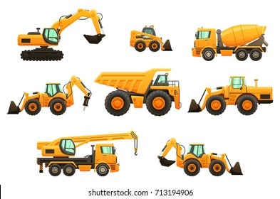 Construction equipment vector isolated set.