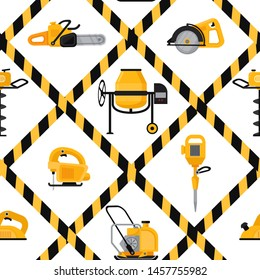 Construction Equipment vector seamless pattern. Circular saw; vibrating rammer, electric disc; gas drill, jackhammer, chainsaw, concrete mixer,