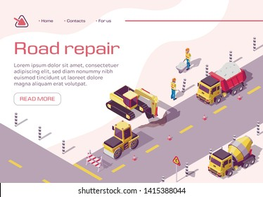 Construction Equipment and Workers on Highway. Tractors, Concrete Mixer, Truck, Steam Roller, Excavator on Road. Employees Changing Asphalt, Repair Freeway Surface. Isometric 3d Vector Illustration