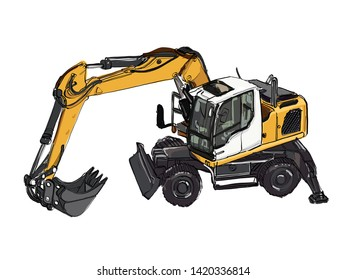 construction equipment in yellow Special machines for the building work Forklifts cranes excavators tractors bulldozers trucks cars concrete mixer trailer Vector