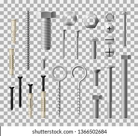 Construction fasteners and furniture screws, bolts and nuts. Vector realistic metallic lag screws, bolts and hex cap nuts, wood fasteners or eye hooks and drywalls and twinfasts. Mixed media