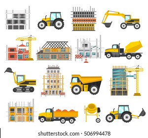 Construction flat elements set with building of facilities and scaffolding tractor and excavator bulldozer isolated vector illustration