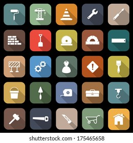 Construction flat icons with long shadow, stock vector
