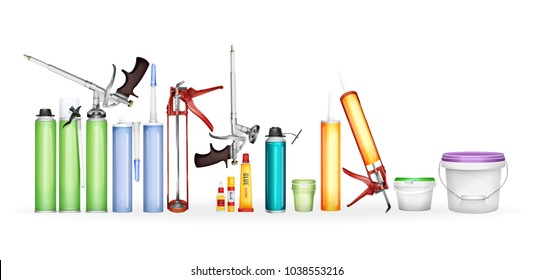 Construction foam, silicone sealant, paint and glue vector illustration of 3D realistic container bottles package for home repair or renovation. Caulking gun, super glue and putty bucket mockup models