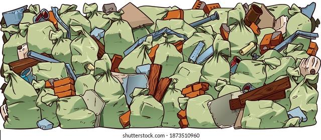 Construction garbage bags, bricks,   broken pieces of drywall, building debris