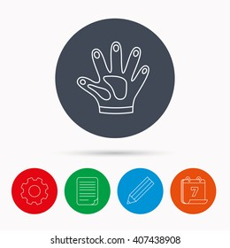 Construction gloves icon. Textile hand protection sign. Housework cleaning equipment symbol. Calendar, cogwheel, document file and pencil icons.