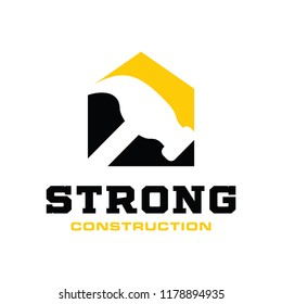Construction and hammer Logo Design Inspiration Vector