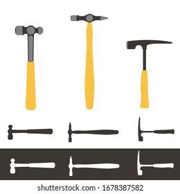 Construction hammers. Brick, ball pein and cross-straight peen. Hand tools. Flat vector illustration.