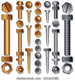 Construction Hardware Icons : Set of Screws, Bolts, Nuts and Rivets. Top and Side View. Isolated Vector Elements