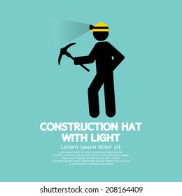 Construction Hat With Light Symbol Vector Illustration