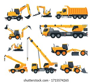 Construction Heavy Machinery Set, Heavy Special Transport, Truck, Excavator, Bulldozer, Crane Vector Illustration