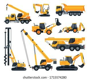 Construction Heavy Machinery Set, Heavy Special Transport, Truck, Excavator, Bulldozer, Crane Service Vehicles Vector Illustration