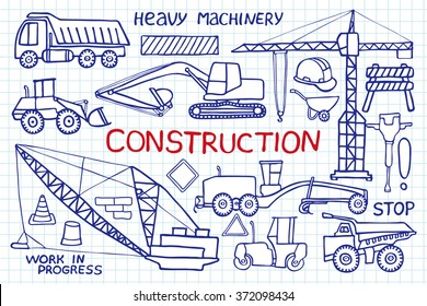Construction and heavy machinery sketch. Hand-drawn cartoon industry icon set -  - trucks, crane, tools and signs. Doodle pen drawing on the notebook page. Vector illustration