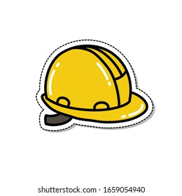construction helmet doodle icon, vector illustration