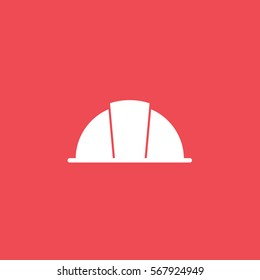 Construction Helmet Flat Icon On Red Background