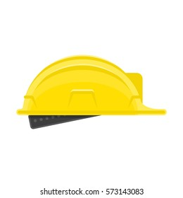 Construction helmet icon. Builder hard hat sign isolated on white background. Helmet in modern flat style. Concept safety in building work. Vector illustration EPS 10.
