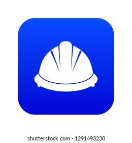 Construction helmet icon digital blue for any design isolated on white vector illustration